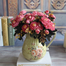 1 Bouquet Artificial Silk Tea Rose Flower European Vintage Silk Flowers Fall Vivid Peony Fake Leaf Wedding Home Party Decoration