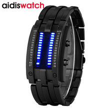 Luxury waterproof electronic second generation Binary LED watches mens wrist watch Clock Hours women kid gift(China)