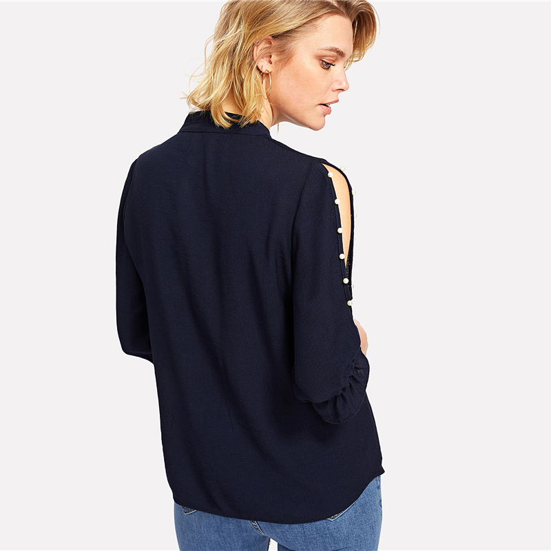 COLROVIE 2018 Spring Stand Collar Pearl Beading Blouse Women 3/4 Sleeve Split Shoulder Plain Top Navy Casual Button Shirt 5
