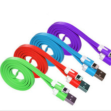 Hot Sale colorful Mobile Phone Cables 100cm USB Flat Noodle Data Sync Charger Cable for iPhone 5 5S 5G phone Cable Cheap Price