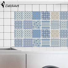 Waterproof Vintage Blue and white porcelain Self-adhesive Wall Sticker Floor Sticker Anti-Oil Wallpaper Color Kitchen Bathroom W(China)