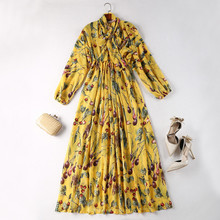 European and American women's wear in 2018 The new spring clothing Runway looks Long sleeve printed The scarf collar dress(China)