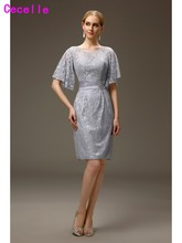 Silver Grey Short Casual Sheath Lace Mother of the Bride Groom Dresses With Sleeves Knee length Fitted Mother Wedding Party Gown(China)