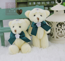 Dark Green Bow Tie Teddy Bear  Wedding Gift  Joints Bear Bouquet Doll Plush Toys Wholesale