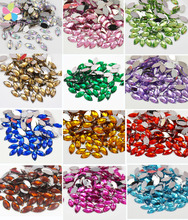 Lucia Crafts 7*15mm Flat Back Sew On Rhinestone crystal Two Holes Beads Stones 50pcs/lot 003018011