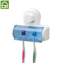 Suction Cup Toothbrush Holder Bathroom Wall Mounted Toothbrush Hanger Hold 5 Toothbrushes(China)