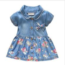 Baby Dress 2017 Summer Denim Children Short Sleeve Dresses For Girls Light Blue Cotton Bow Flower Print Kids Fashion Dress