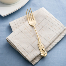 Japan imported high-mulberry metal stainless steel gold-plated Western-style meal fork dinner table fork dessert fork cutlery(China)