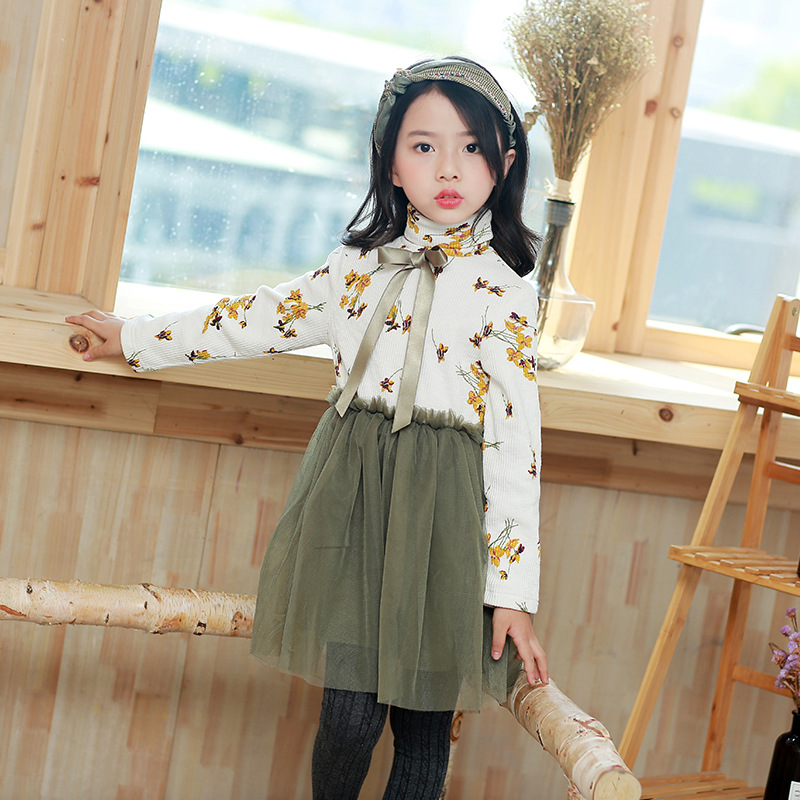 Autumn winter Girls Dress turtle neck Casual Long Sleeves lace Mesh Kids Dresses For Girl Autumn Clothing Cute Princess Dress<br>