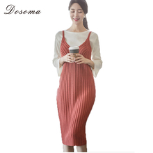 Autumn Red Slip Dress Women Knitted Dress at Knee Winter Cotton V-neck Sleeveless Dresses Slim Version Vestidos 2017(China)