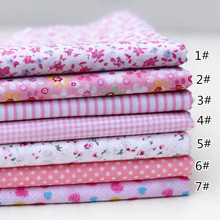 DIY handmade patchwork fabric cloth 25 * 25CM pink color plain cotton cloth group flower printed fabric free shipping