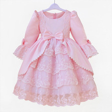Petal long sleeve Court dress flower girl dress princess ball gown dress evening dress costumes LSA09CX(China)