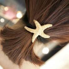 1pc 2017 New Arrival Street Fashion Golden Starfish Shaped Metal Texture Hair Rope Hair Ring Hair Accessories Drop Shipping(China)