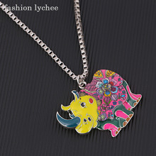 fashion lychee Colorful Metal Chain Enamel Cute Animal Pendant Necklace Elephant Dog Turtle Charms Necklace Jewelry(China)
