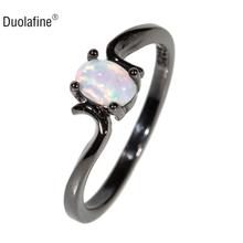 Duolafine Fashion White Weter Drop Simple CZ Fire Opal Ring Black Gold Filled Jewelry Engagement Wedding Rings For Women ZJ012(China)