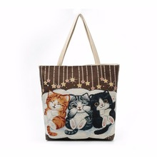 Lucky Cute Cat Casual Tote Women Bag 2017 Beach Bag Large Capacity Zipper Women Big Canvas Bag Portmonaie Shopping Bag