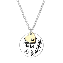 So Many Reasons To Be Happy Necklace Women Round Letter Heart Necklace Trendy Necklace(China)