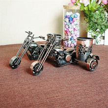 Motorcycle Pen Holder Antique Handicrafts Retro Beautiful Craft Model Desktop Vehicle As Scooter Place Pen for Travel Home Decor