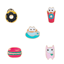 Enamel Cute Small Cups Cats Ice Cream Donuts Brooch Collar Brooch for Women Badges Fashion Jewelry Wholesale Collar Pin(China)