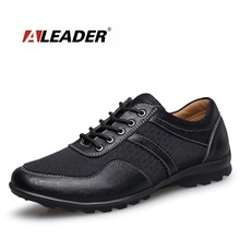 Aleader New Big Size 37-47 Men Mesh Casual Shoes Outdoor Fashion Walking Shoes Men Male Genuine Leather Flats Sapato Masculino