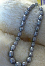 stunning 13-14mm tahitian silver grey pearl necklace 18inch>Selling jewerly free shipping