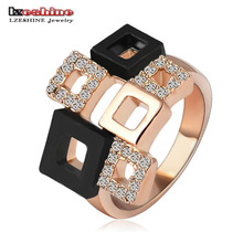 LZESHINE 2017 Geometric Crystal Rings Rose Gold/Silver Color Austrian Crystal Square Ring Full Sizes Wholesale Ri-HQ1114