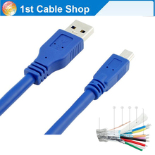 Best quality USB 3.0 A Male to Mini 10 Pin B Extension Cable USB 3.0 A male to Mini USB cable 0.3M/1M/1.5M/3M(China)
