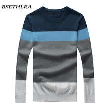 BSETHLRA 2017 New Sweater Men Autumn Hot Sale Top Design Patchwork Cotton Soft Quality Pullover Men O-neck Casual Brand Clothing(China)