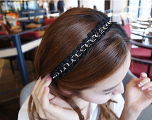 Wholesale 6pcs/lot Korea Style Silver Gold Color Link Chain Black Silk Hair band Hair Accessory For Women
