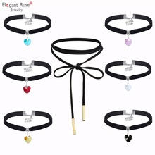 Hot Fashion Blue Black Crystal Heart Pendant Velvet Choker Necklaces Jewelry For Women Statement Necklaces Wholeslae RBR144