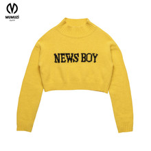 MUMUZI 2017 Winter and Autumn New Pullover Tops Yellow News Boy Short Design Sweaters Pullover Fake Mink Knitted Sweater(China)