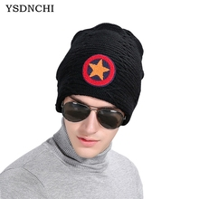 YSDNCHI Mens Skullies Hat Winter Beanie Protuct Ear Knitted Wool Caps Star Pattern Gorros Male Warm Beanies Hats High Quality(China)