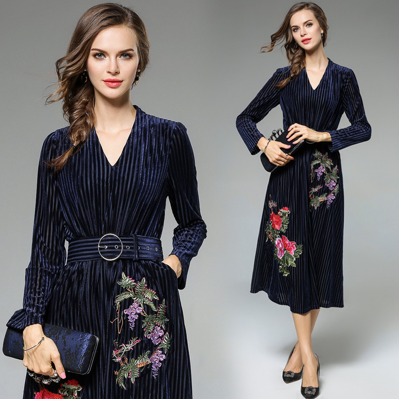 Heavy Embroidery Women Dress High-End Fashion Celebrity-Inspired Dresses Long Sleeve Autumn Robe Belted Vintage Style Vestidos (20)