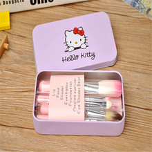 2017  Hello Kitty 7Pcs Makeup Brush Set Mini Size Professional Facial Cosmetics Make Up Brushes Set With Metal Box
