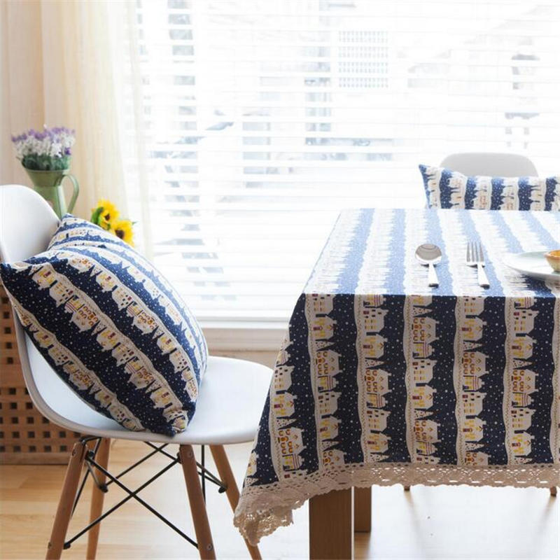 Linen Cotton Table Cloth Small Houses Printed Lace Edge Tablecloth  Rectangle Table Cover Dinner Square Tablecloth 140X160cm