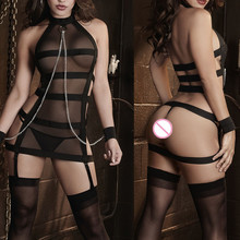 Buy New Sexy Lingerie Black Bandages Splice Perspective Gauze Handcuffs Inmates SM Cosplay Erotic Costumes