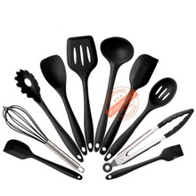 Black Silicone Kitchen Utensils Cooking Utensil Tool Sets Baking BBQ Tools Cake Scraper Spatula Spoon Ladle Tongs