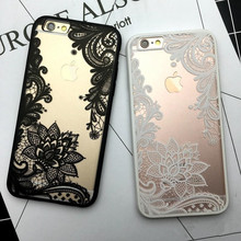 Sexy Lace Floral Paisley Flower Clear Case For iphone 6 6S Plus Cases Fashion Cartoon Capa Back Cover For iphone 6 6s 7 Plus