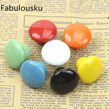 Colorful Ceramic Round Cabinet Wardrobe Drawer Cupboard Knob Drawer Pull Handles(China)