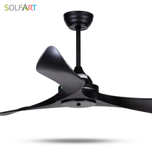 SOLFART ceiling fan dining fan blade plastic modern room fan ceiling fan with remote control safe and mute Black leaves slf9103(China)