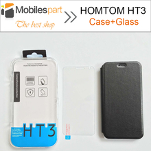 HOMTOM HT3 Case High Quality Flip Leather Case Cover +Tempered Glass Phone Case for HOMTOM HT3 Pro Smartphone