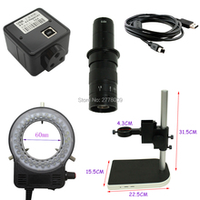 5.0MP USB Cmos Microscope Camera Free Driver 10X-180X Optical C-Mount Lens LED Light Adjustable Lift Bracket(China)