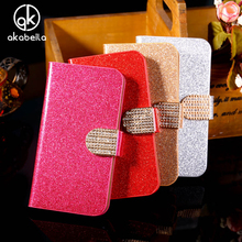 AKABEILA Glitter Bling Mobile Phone Cases For LG Optimus L5 II 2 E460 E450 Dual E455 Housing Covers Wallet Stand Flip Holster(China)