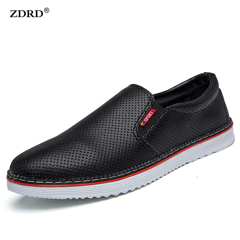 ZDRD Men Casual Shoes Air Mesh Breathable Men Flats Mocassins  Leather Loafers Slip-on Fashion Black Men Casual Driving Shoes<br><br>Aliexpress
