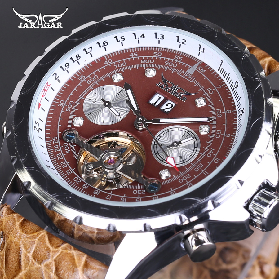 Original JARAGAR Watch Automatic Mechanical Watches Leather Tourbillon Flywheel Men wristwatch relogio masculino With Watch Box<br>