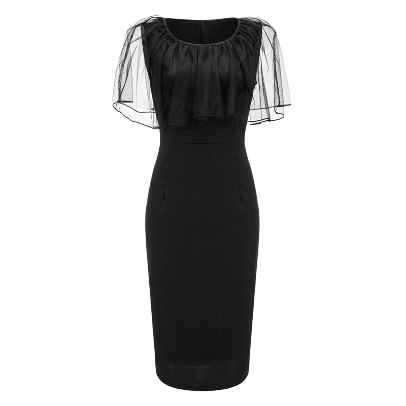 Adogirl Black Mesh Cape Bodycon Party Dresses Elegant Ladies Pencil Office Dress High Quality Cheap Work Wear Vestido De Festa 8