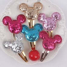 2017 new ( long 50mm Cartoon mickey head) girl barrettes 5 colors clip Hair Accessories for kids 1pcs gold Hairpin T161