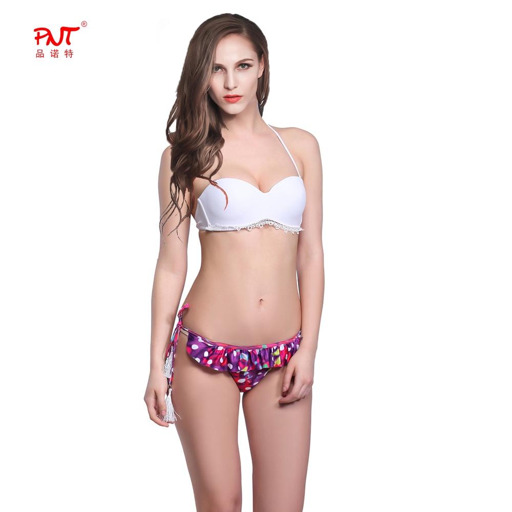 PNT102 Bikinis Women Swimsuit Sexy Bikini Brazilian Set Hollow Out Lace Decoration PushUp Swimwear Top Waist Rope Tassel Biquini<br><br>Aliexpress
