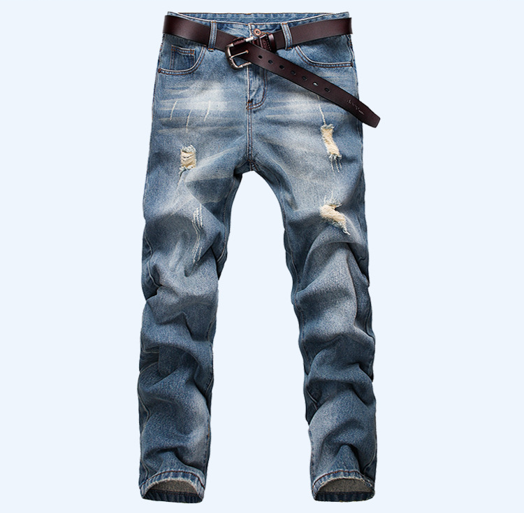 2017 Spring And Summer Jeans Mens Straight Slim Washed Blue Cat Claw Scratched Hole Full Length Straight Fashionable Mens JeansОдежда и ак�е��уары<br><br><br>Aliexpress