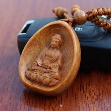 1 pc High-grade rosewood carving key buckle Lucky Buddha Keychain car key pendant Wholesale(China)